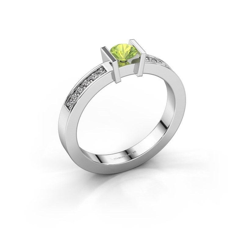 Engagement ring Maryam 585 white gold peridot 4 mm