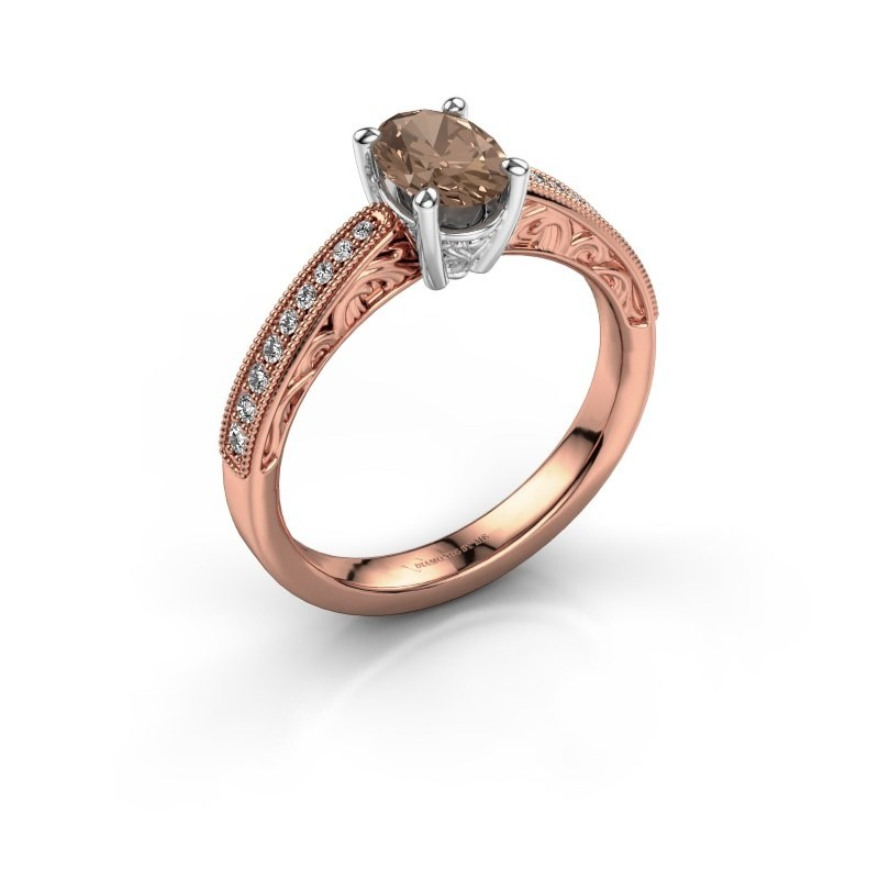 Bague de fiançailles Shonta OVL 585 or rose diamant brun 0.93 crt