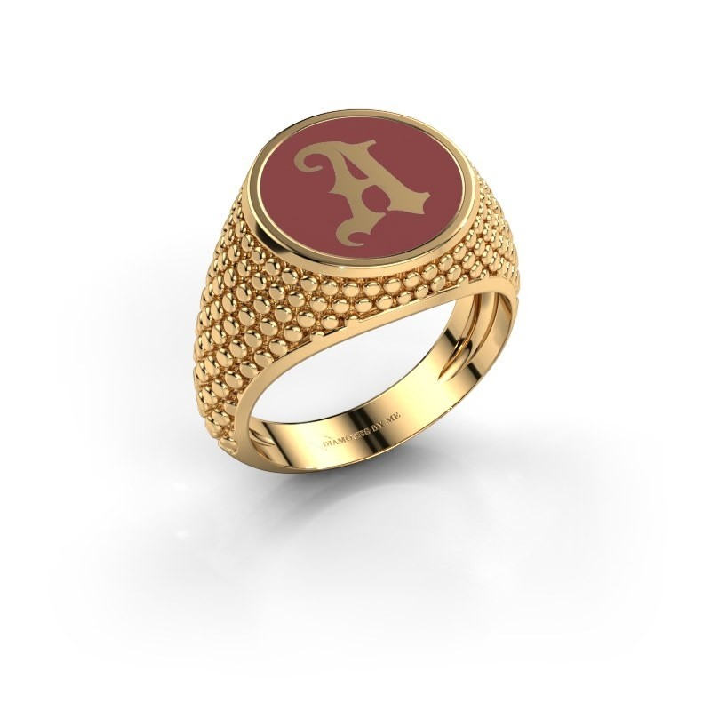 Monogramm Ring Zachary 585 Gold Rot Emaille