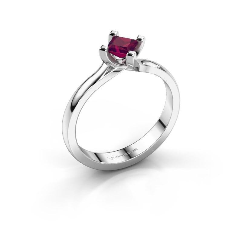 Engagement ring Dewi Square 950 platinum rhodolite 4 mm