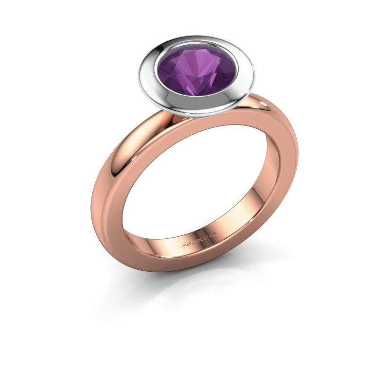 Stacking ring Trudy Round 585 rose gold amethyst 7 mm