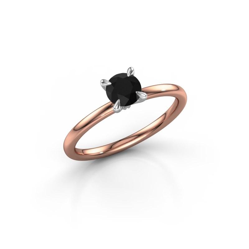 Verlovingsring Crystal RND 1 585 rosé goud zwarte diamant 0.60 crt