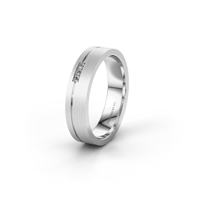 Trouwring WH0156L14X 375 witgoud lab-grown diamant ±4,5x1.4 mm