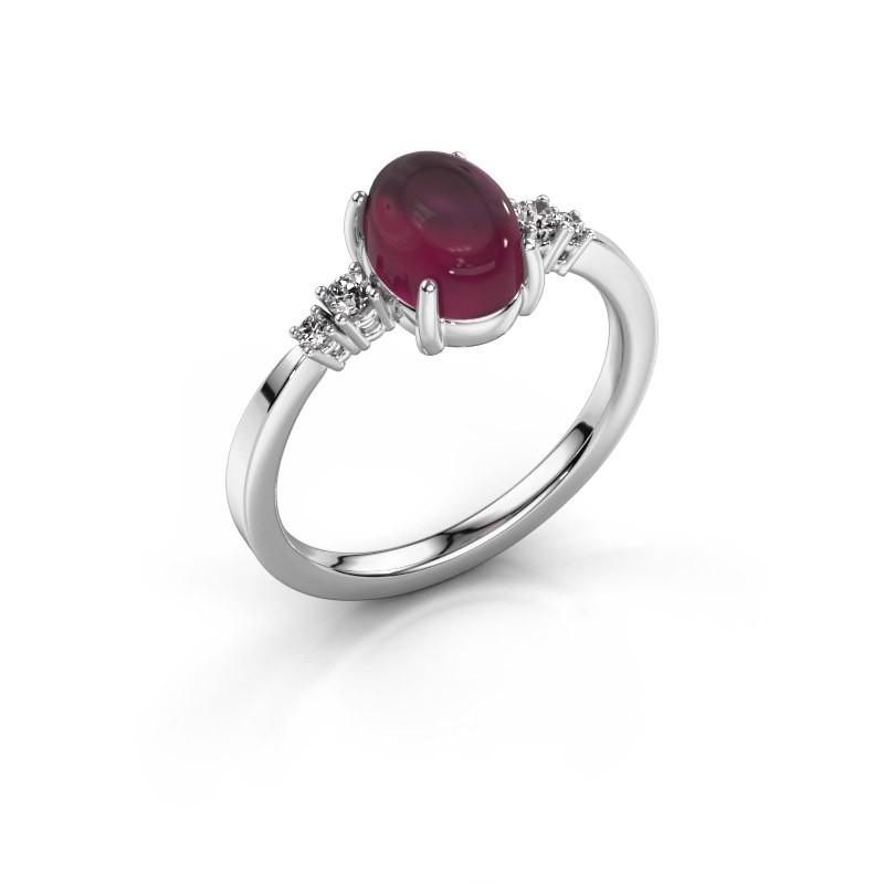 Ring Jelke 950 platina rhodoliet 8x6 mm
