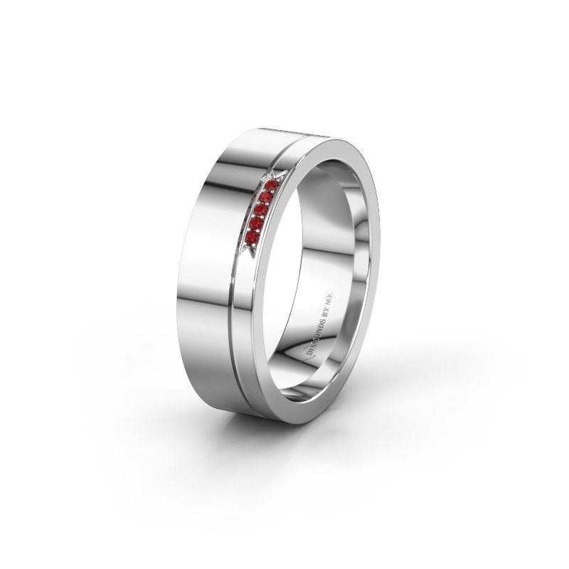 Huwelijksring WH0336L16A 585 witgoud robijn ±6x1.7 mm