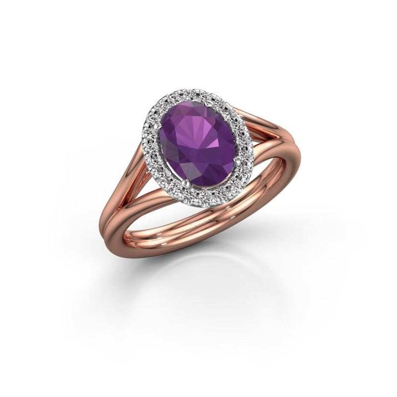 Engagement ring Rachele 1 585 rose gold amethyst 8x6 mm