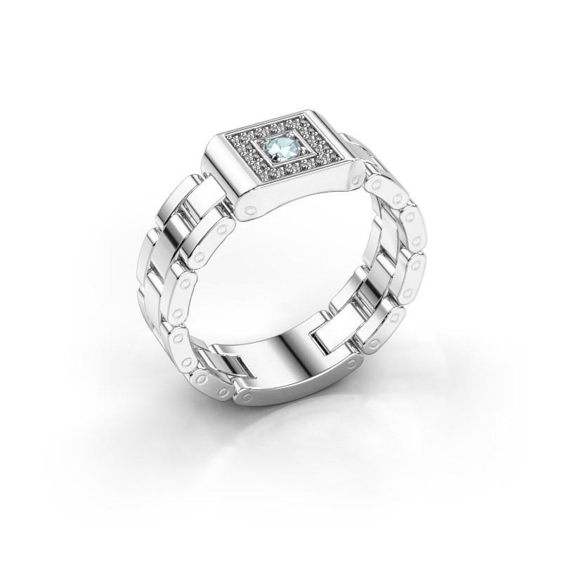 Rolex Stil Ring Giel 950 Platin Aquamarin 2.7 mm