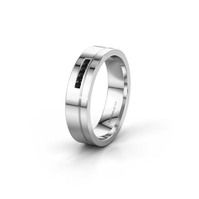 Trouwring WH0307L15AP 925 zilver zwarte diamant ±5x1.7 mm