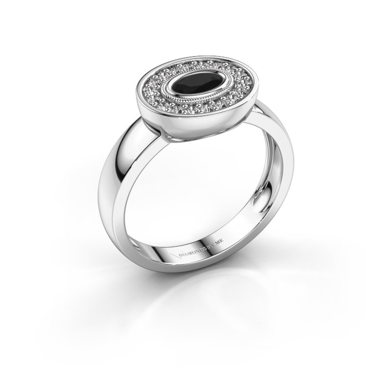 Bague Azra 925 argent diamant noir 0.456 crt