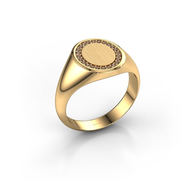 Men's ring Floris Oval 2 375 gold brown diamond 0.18 crt