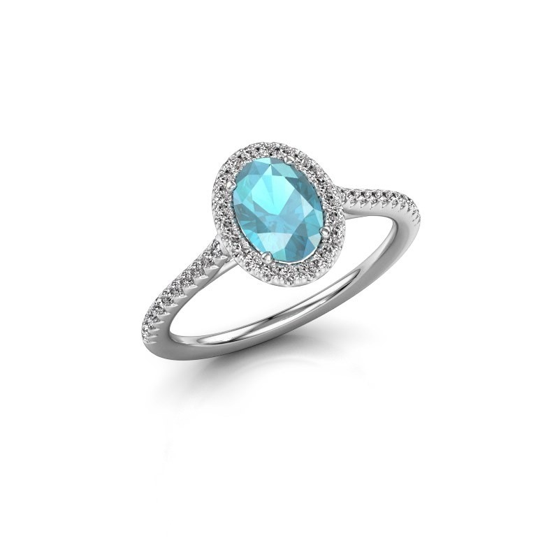 Engagement ring Seline 2 925 silver blue topaz 7x5 mm