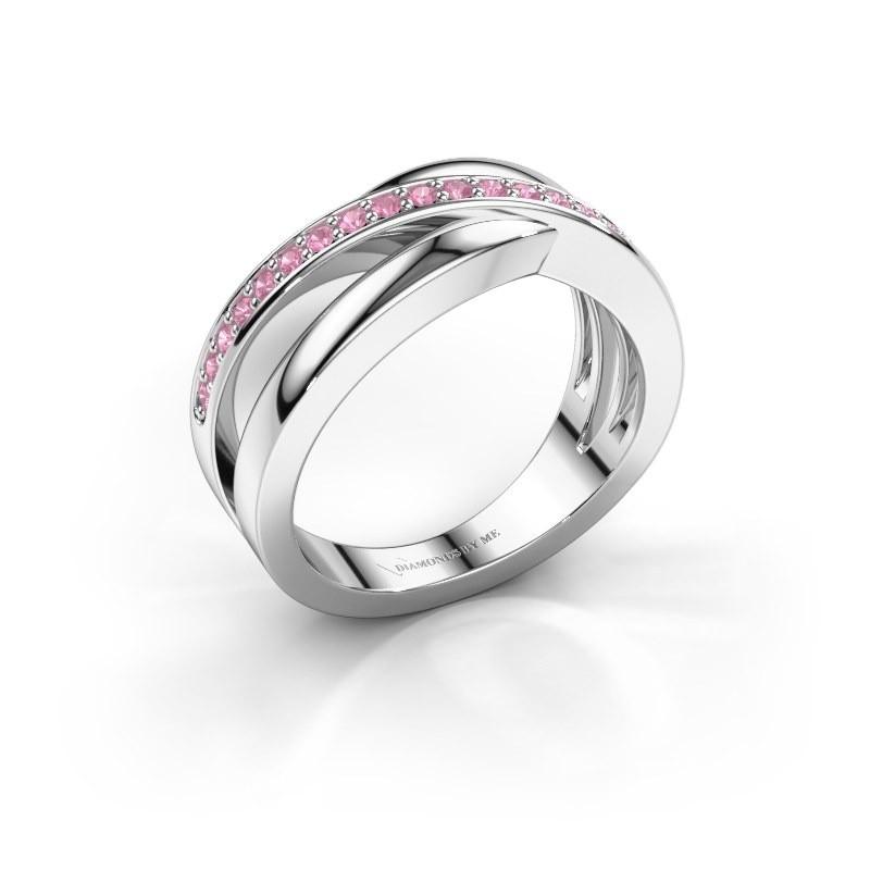 Ring Colette 585 witgoud roze saffier 1.3 mm