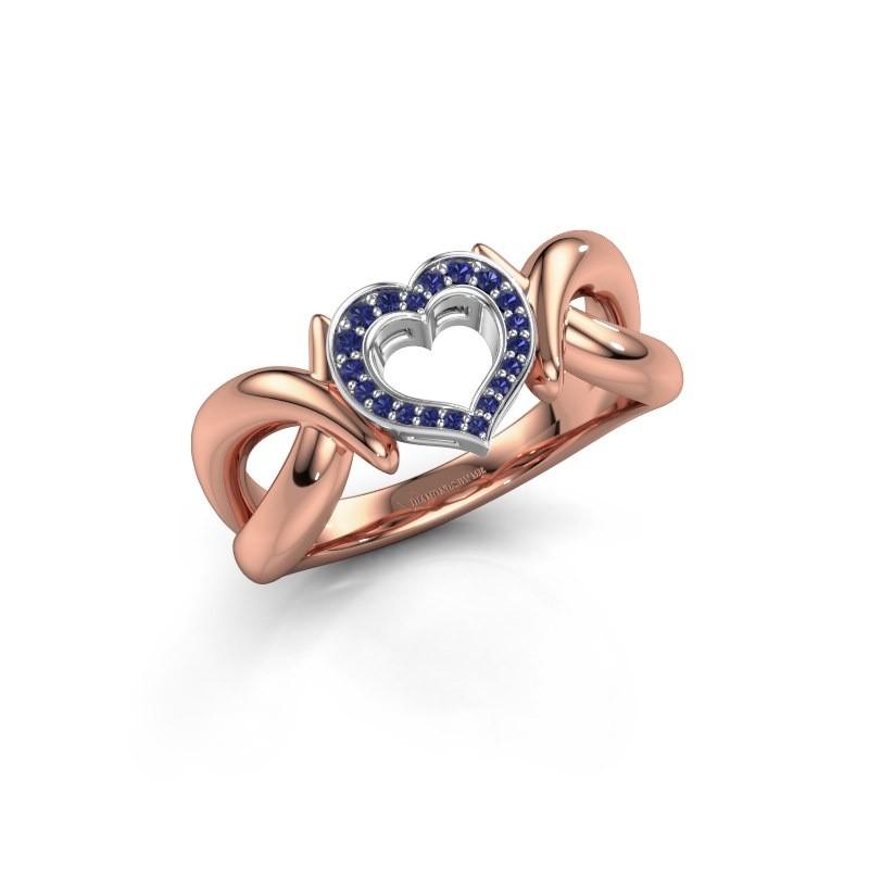 Ring Earlie 1 585 rosé goud saffier 1.1 mm