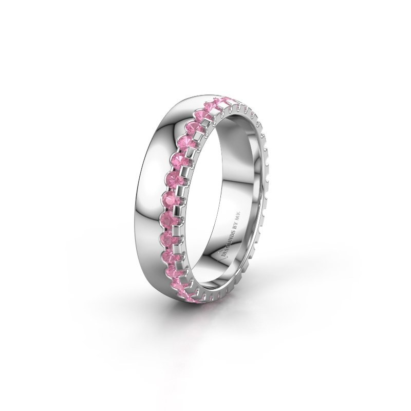 Wedding ring WH6122L25B 950 platinum pink sapphire ±0.20x0.08 in
