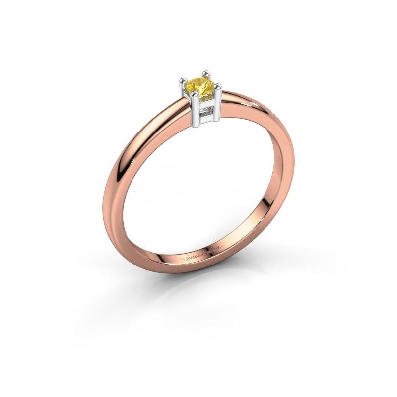 Promise ring Eline 1 585 rosé goud gele saffier 3 mm