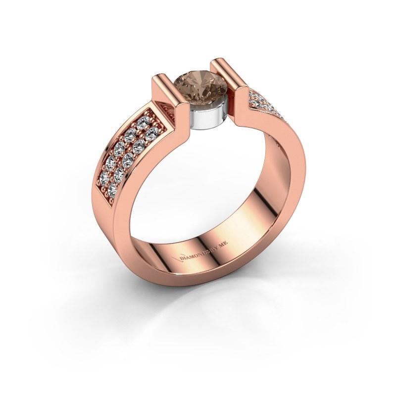 Engagement ring Isabel 3 585 rose gold brown diamond 0.80 crt
