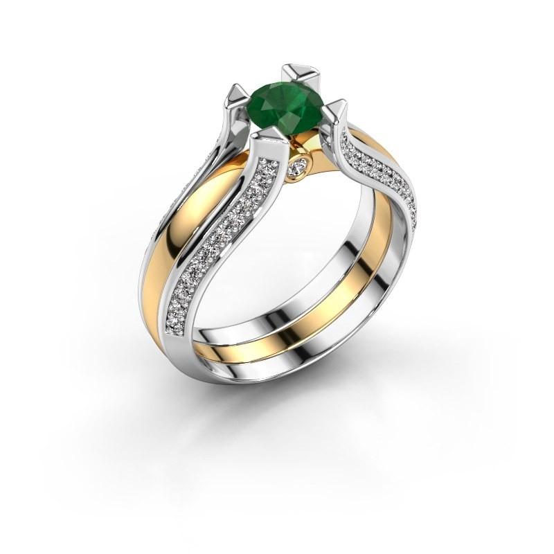 Verlovingsring Nadine 585 goud smaragd 5 mm