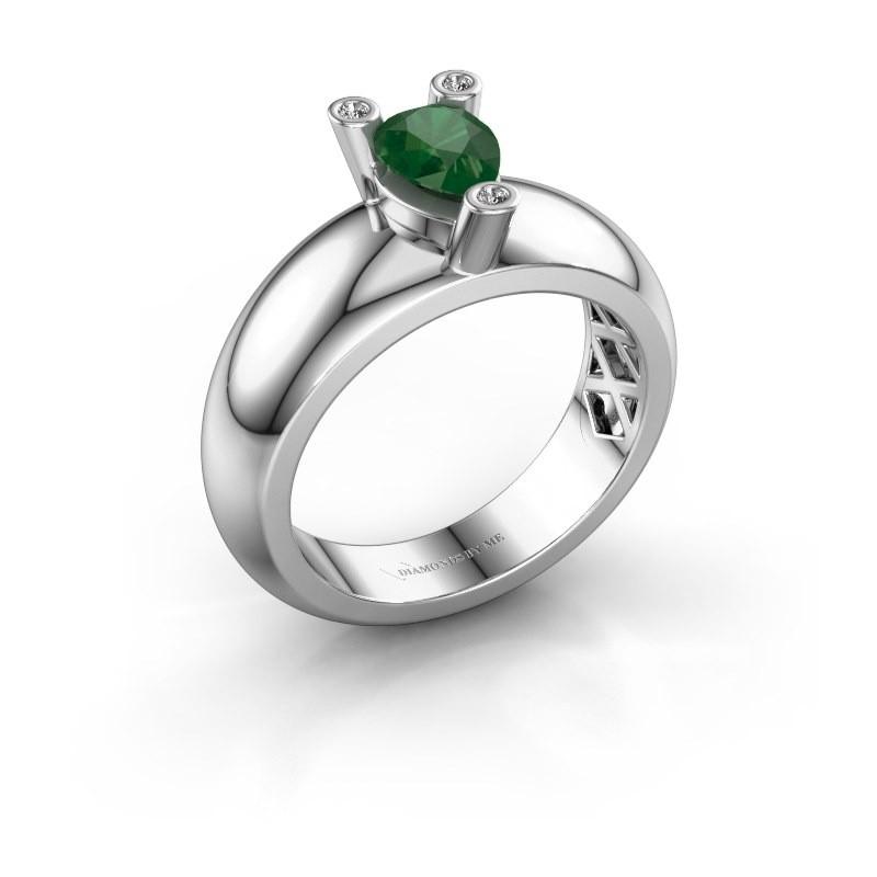 Ring Cornelia Pear 925 Silber Smaragd 7x5 mm
