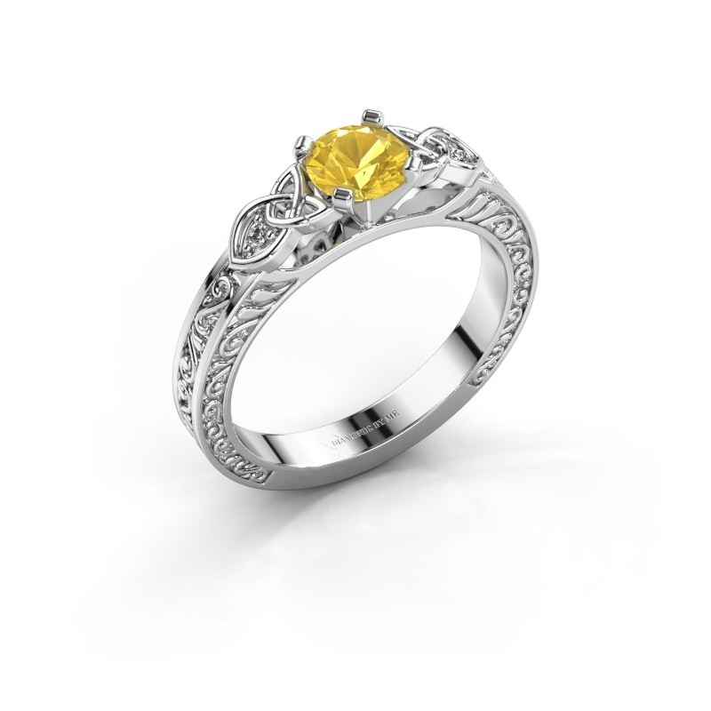 fdf6a74378812 Engagement ring Gillian 925 silver yellow sapphire 5 mm