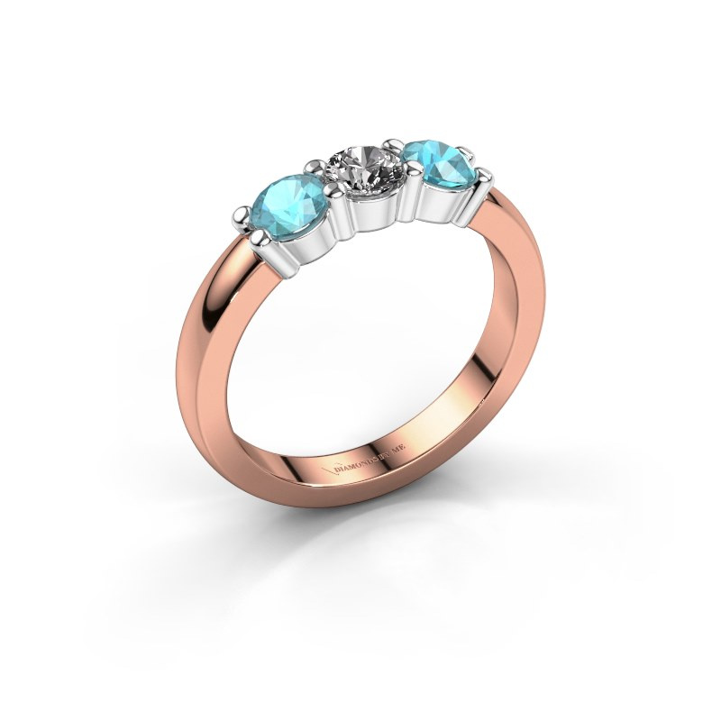 Verlovings ring Yasmin 3 585 rosé goud diamant 0.30 crt