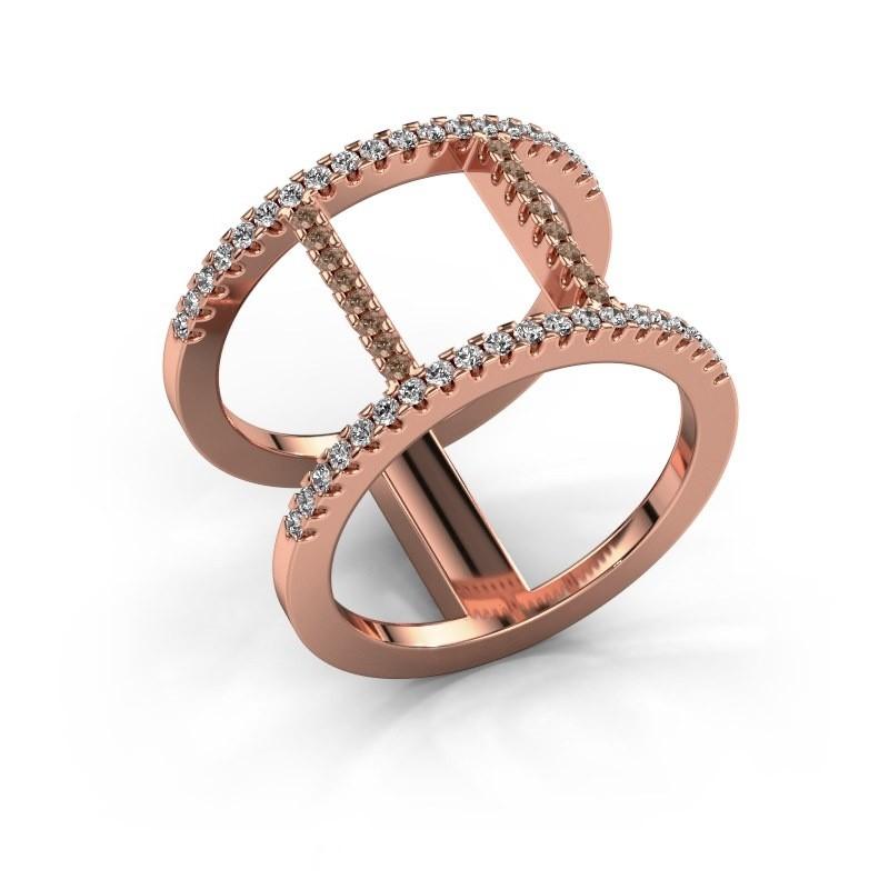 Bague Amee 375 or rose diamant brun 0.407 crt