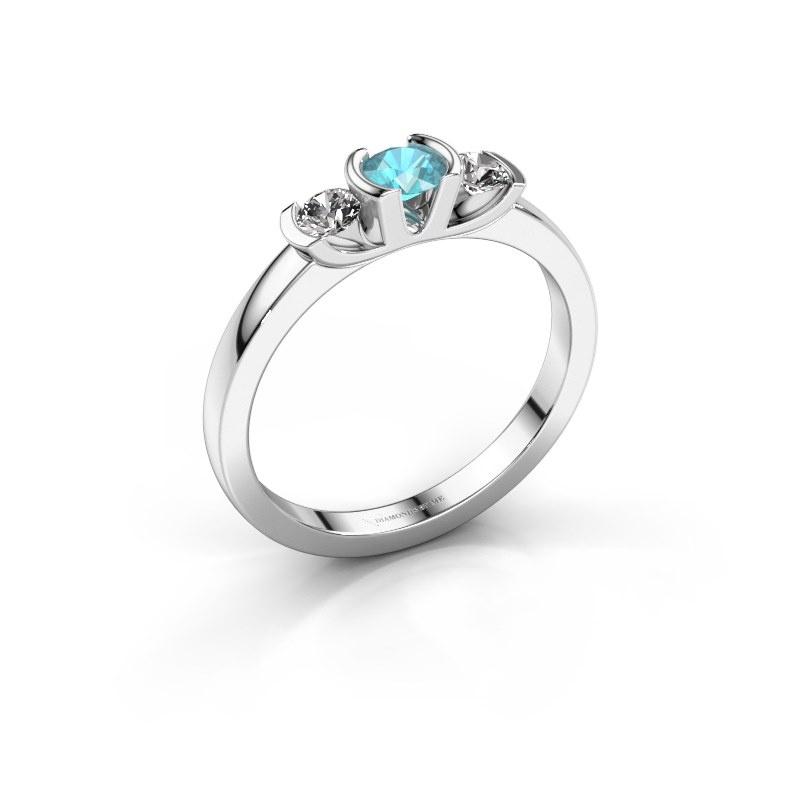 Ring Lucia 585 white gold blue topaz 3.7 mm