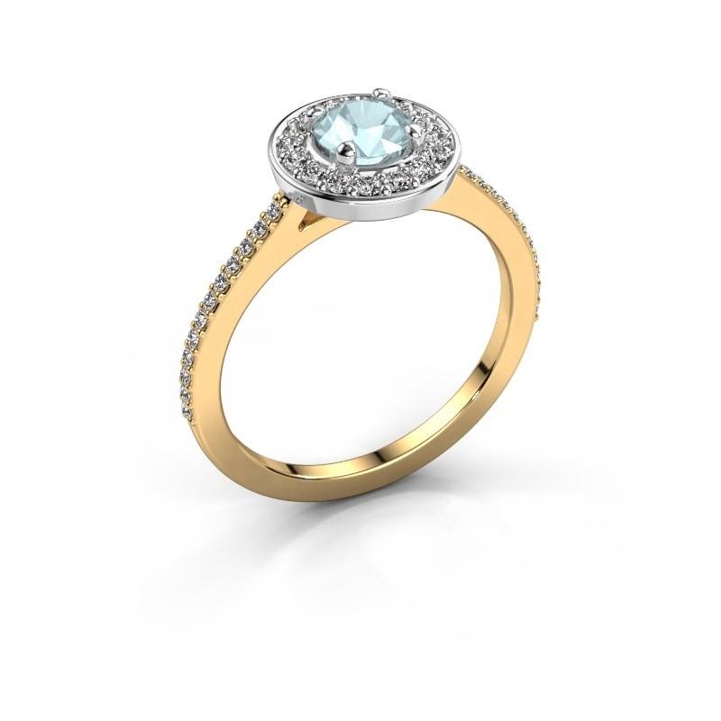 Ring Agaat 2 585 gold aquamarine 5 mm