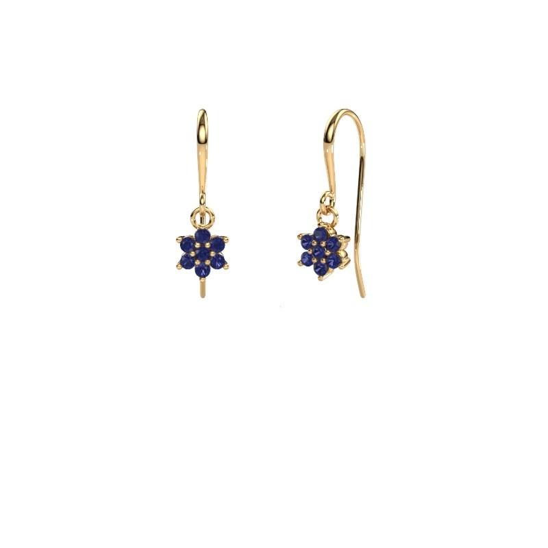 Drop earrings Dahlia 1 375 gold sapphire 1.7 mm