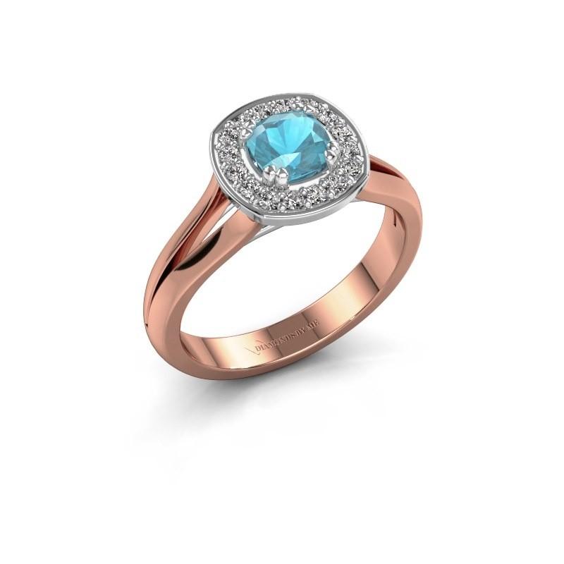 Ring Carolina 1 585 rosé goud blauw topaas 5 mm