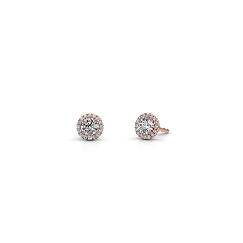 Earrings Seline rnd 375 rose gold zirconia 4 mm
