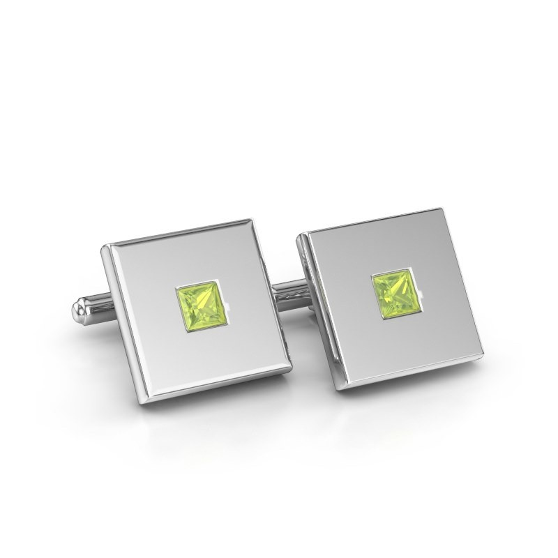 Cufflinks Givanti 585 white gold peridot 4 mm