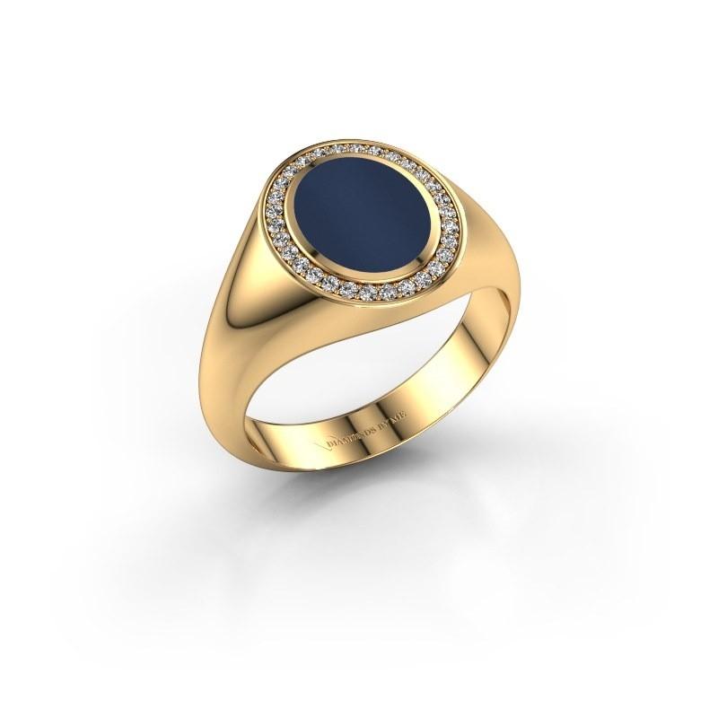 Pinkring Adam 1 585 goud donker blauw lagensteen 10x8 mm