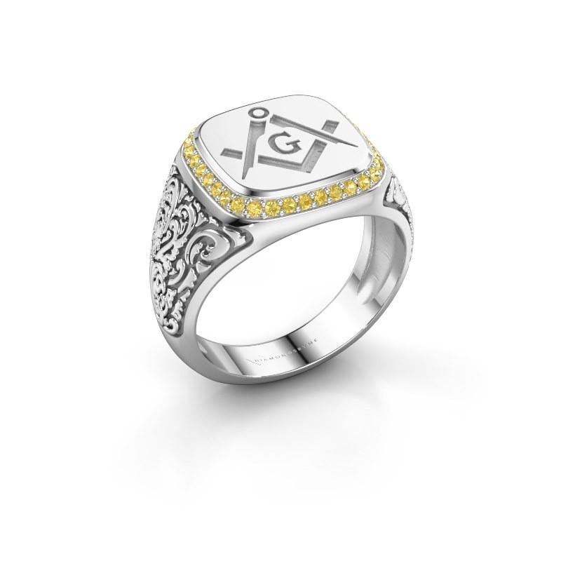 Men's ring Hugo 950 platinum yellow sapphire 1.2 mm