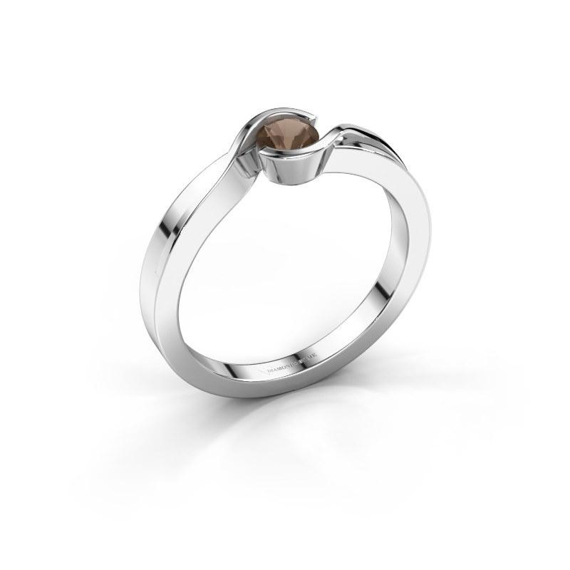 Ring Lola 925 silver smokey quartz 4 mm