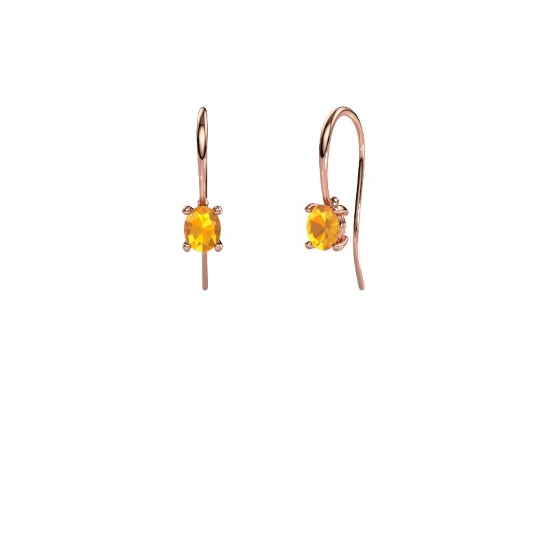 Oorhangers Cleo 375 rosé goud citrien 6x4 mm