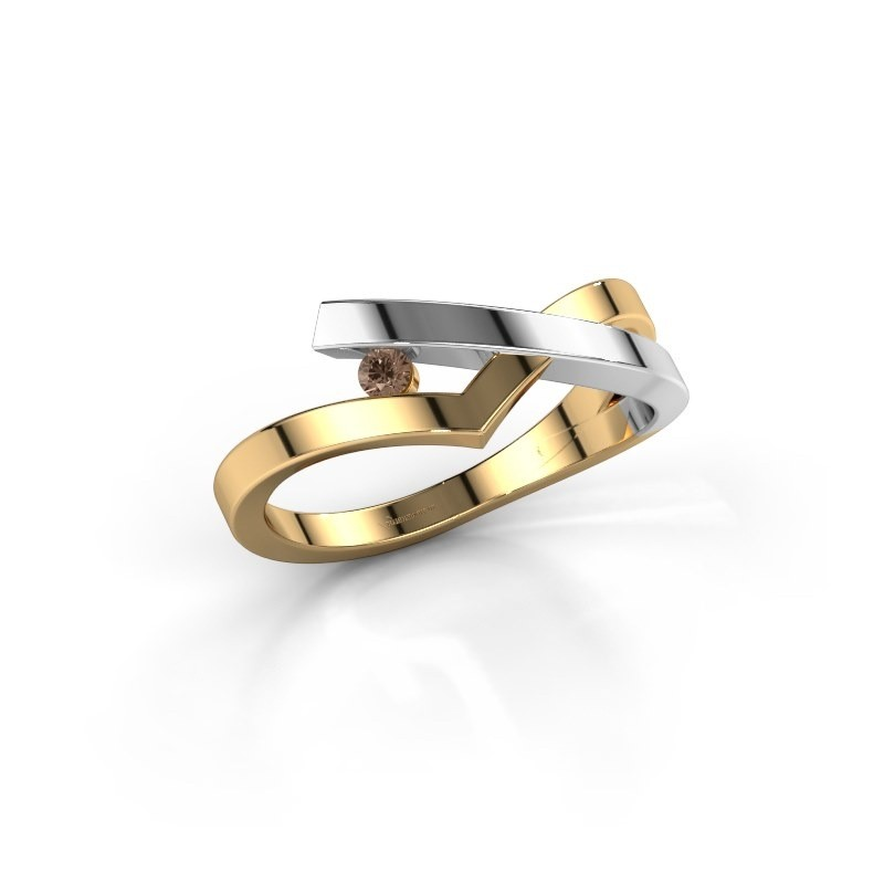 Ring Pamella 585 gold brown diamond 0.045 crt
