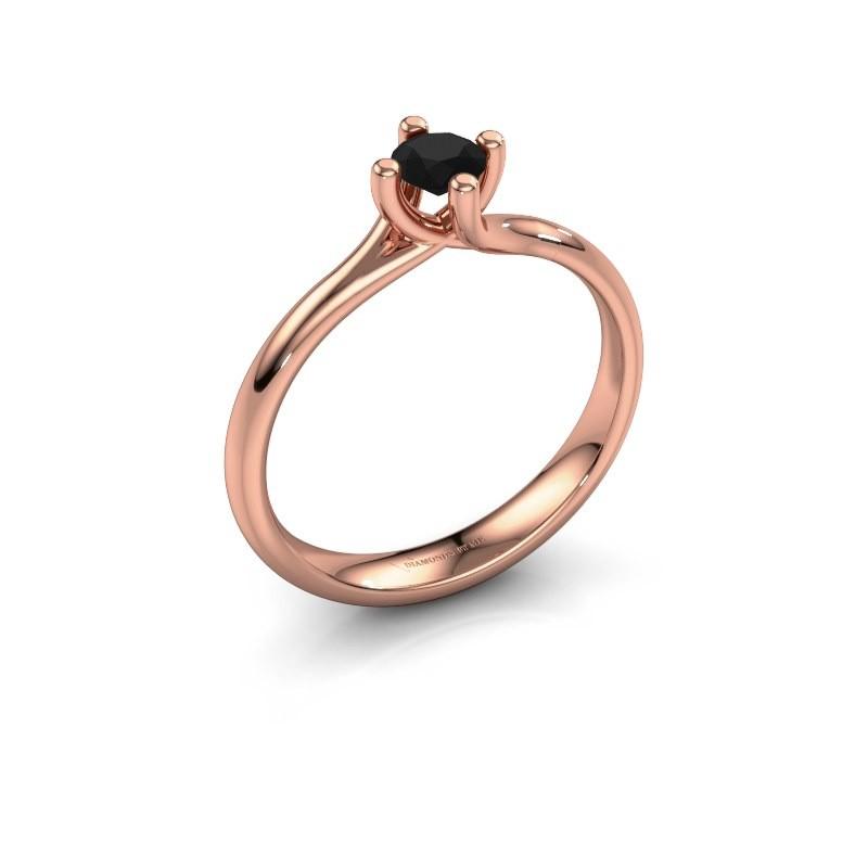 Engagement ring Dewi Round 375 rose gold black diamond 0.30 crt