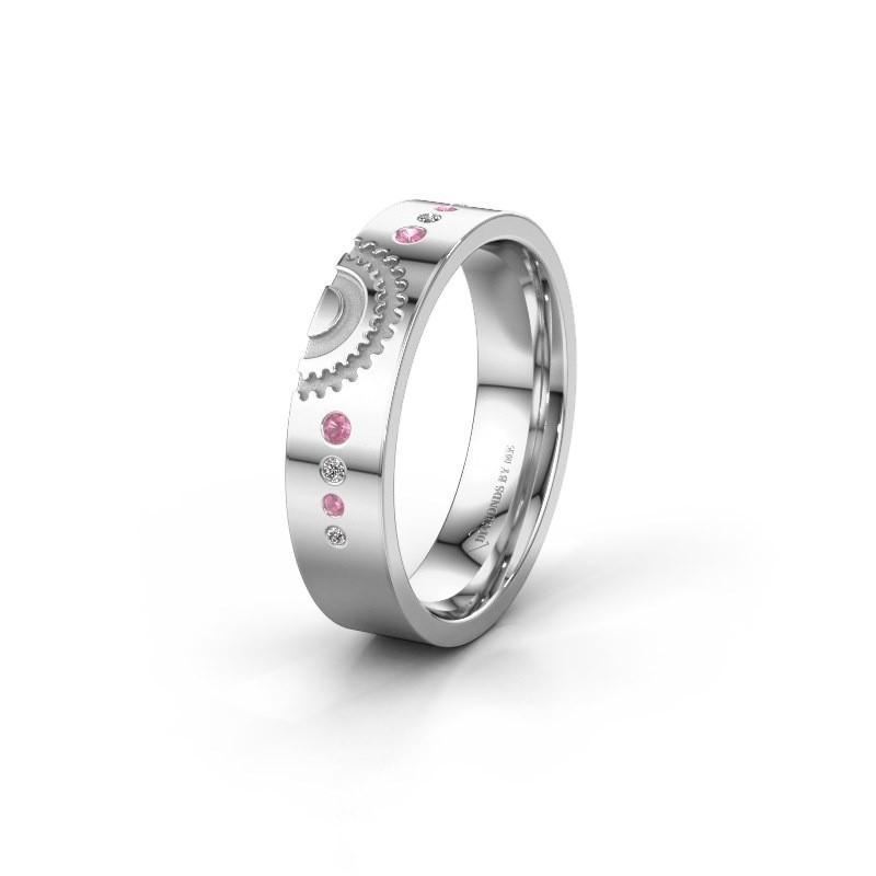 Trouwring WH2116L25A 925 zilver roze saffier ±5x1.7 mm