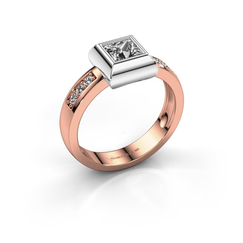 Ring Charlotte Square 585 rose gold diamond 0.40 crt