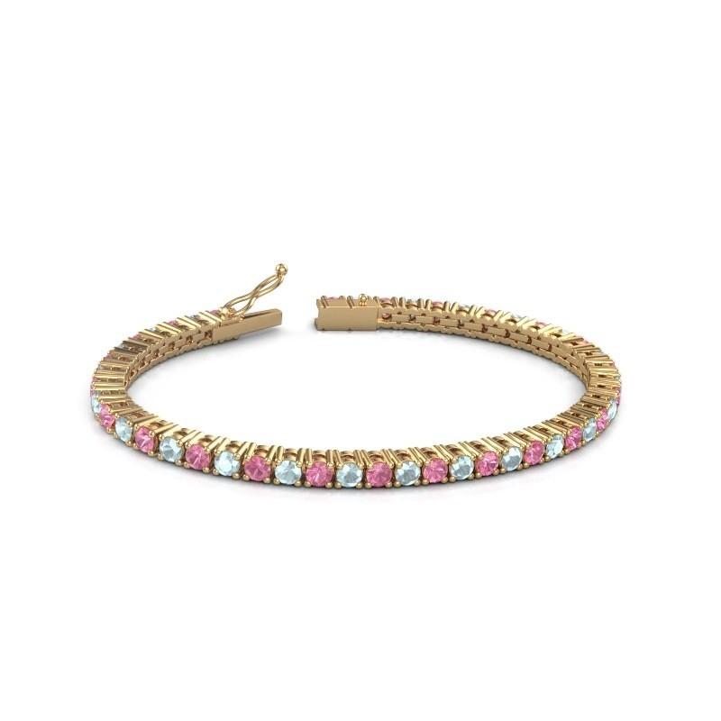 Tennisarmband Jenny 375 goud roze saffier 3.5 mm