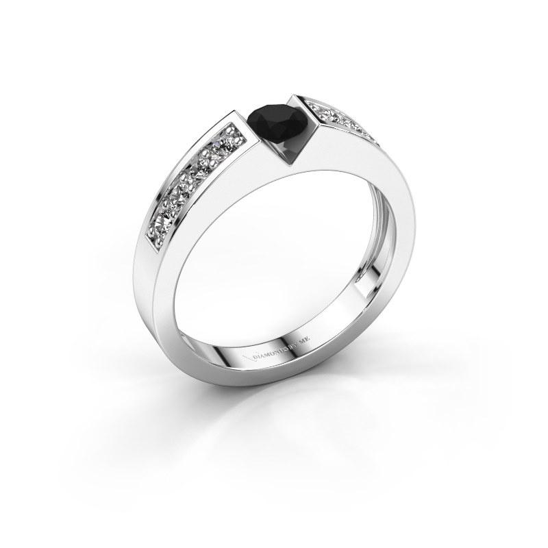 Engagement ring Lizzy 2 585 white gold black diamond 0.36 crt