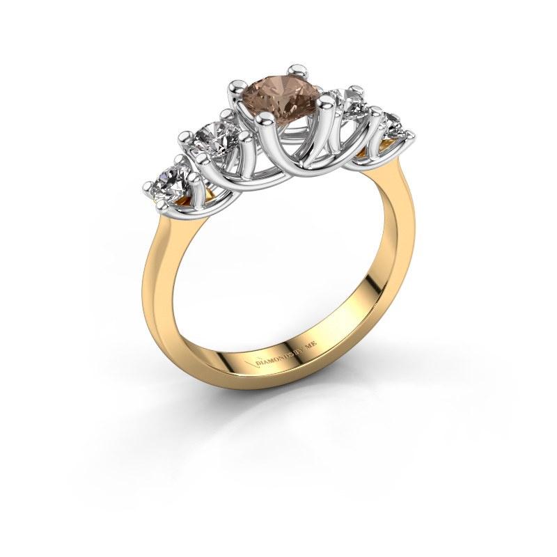 Bague de fiançailles Jet 585 or jaune diamant brun 1.00 crt