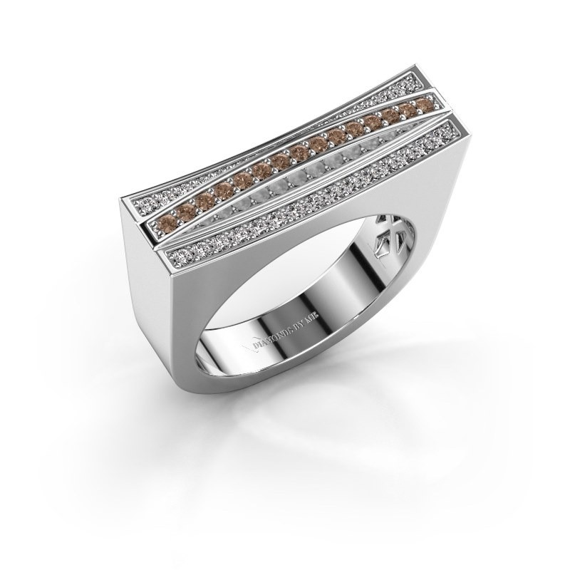 Ring Erma 925 zilver bruine diamant 0.338 crt