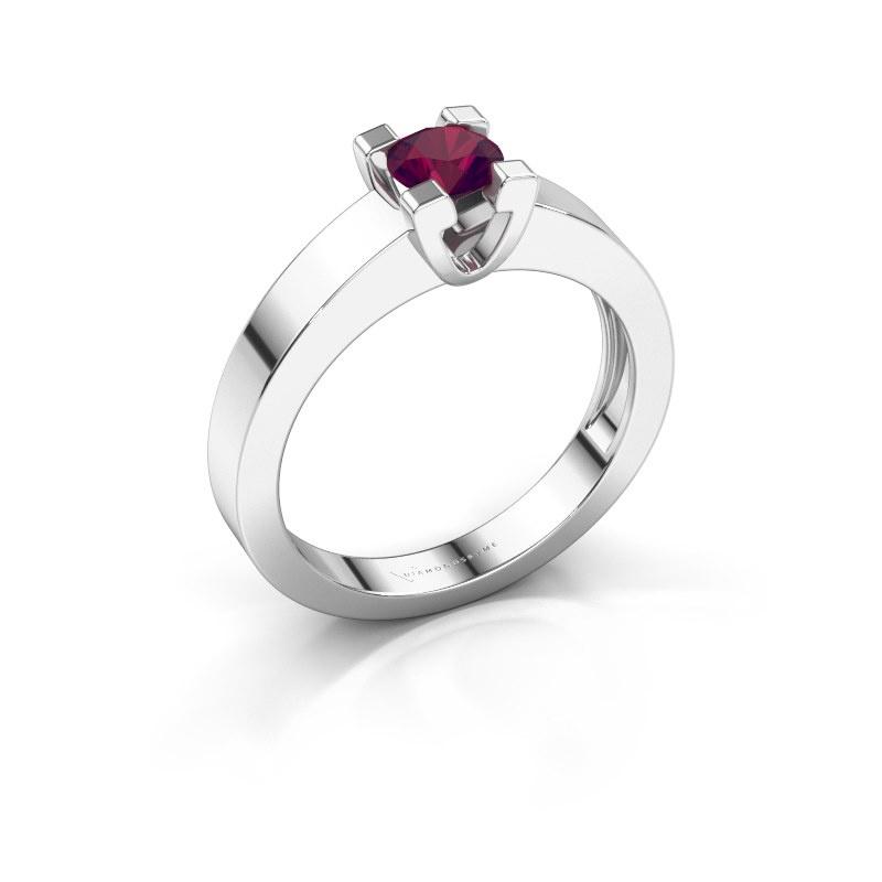 Promise ring Anne 1 585 witgoud rhodoliet 4.7 mm