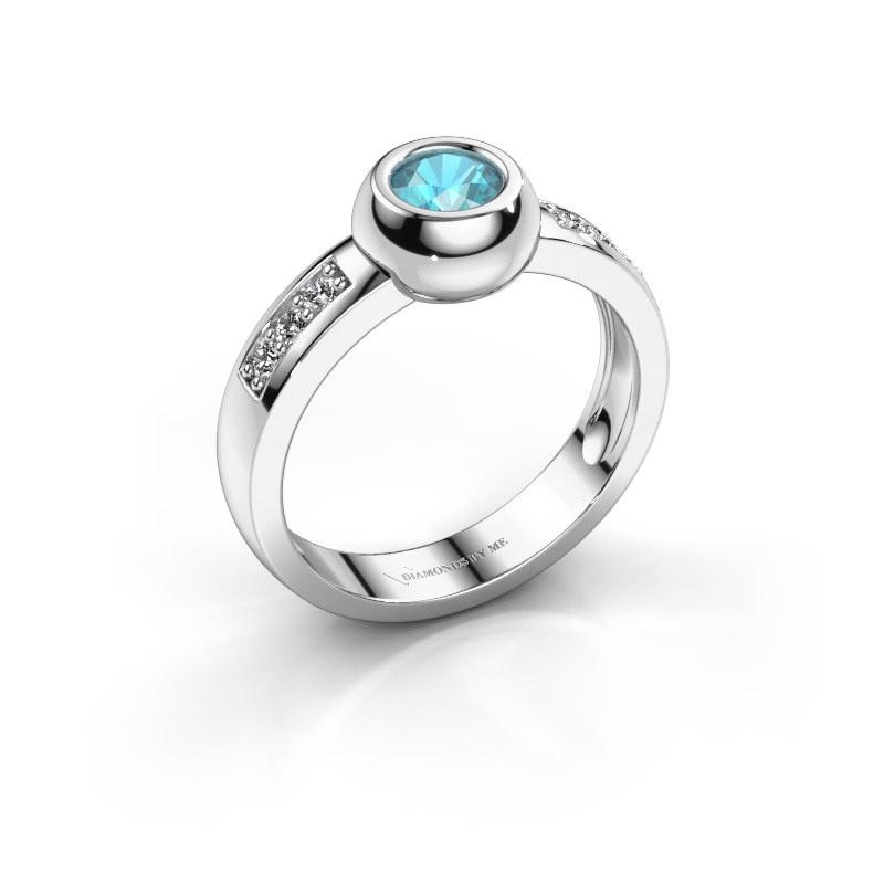 Ring Charlotte Round 925 zilver blauw topaas 4.7 mm