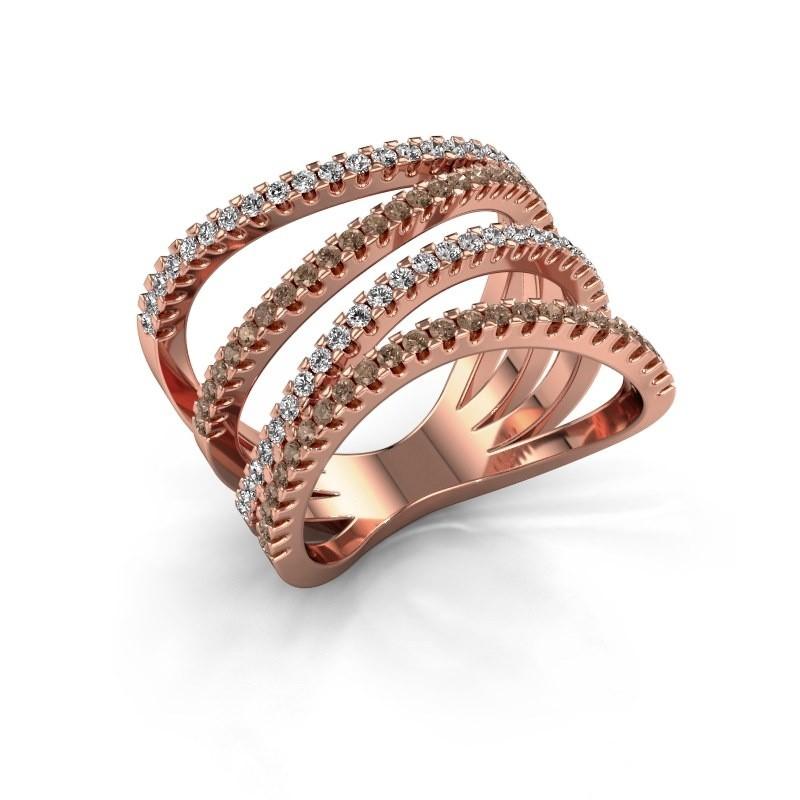 Ring Mitzi 375 rosé goud bruine diamant 0.735 crt