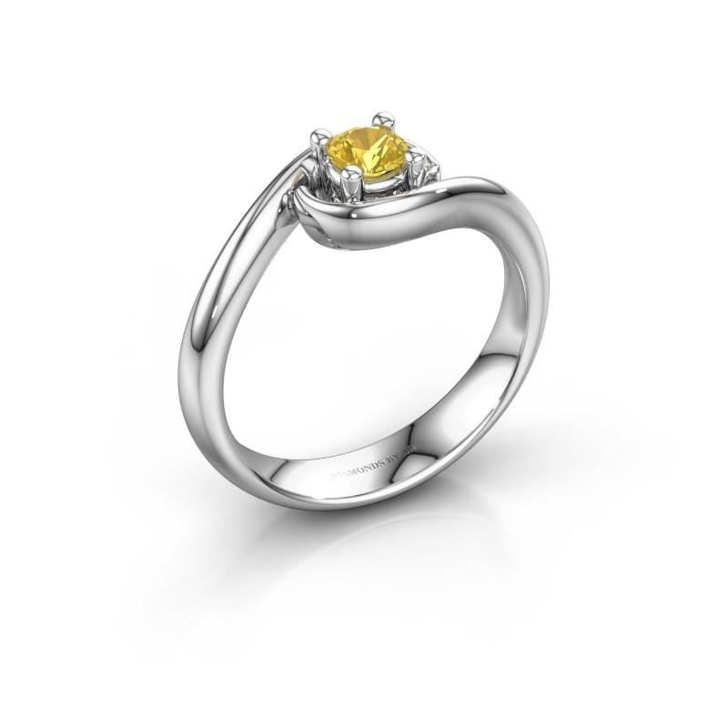 Ring Linn 585 white gold yellow sapphire 4 mm