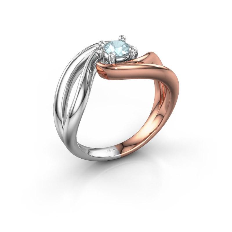 Ring Kyra 585 rosé goud aquamarijn 4 mm