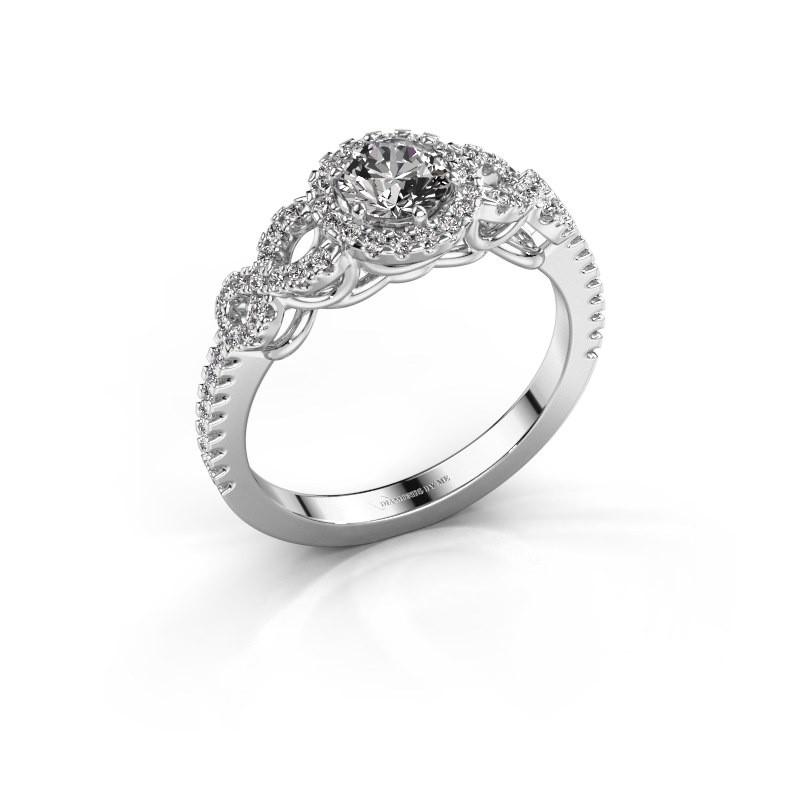 Engagement ring Sasja 950 platinum zirconia 5 mm