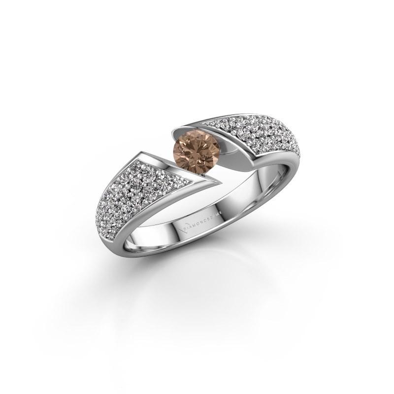Engagement ring Hojalien 3 950 platinum brown diamond 0.73 crt